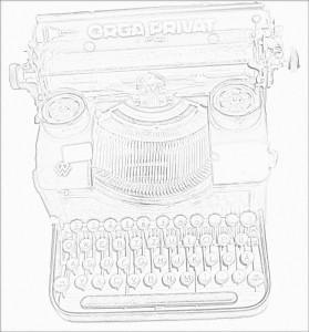 Mathilde mag gezeichnete Schreibmaschinen
